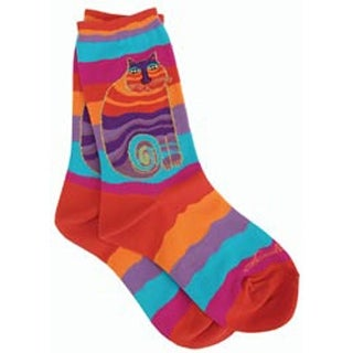Rainbow Cat - Multi Wavy Stripe - Laurel Burch Socks