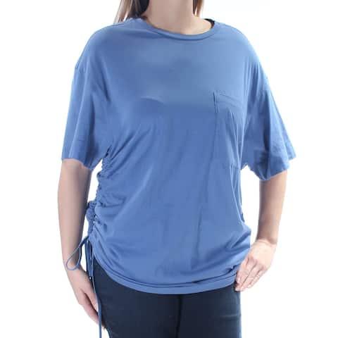 DKNY Womens New 1144 Blue Tie Hem Short Sleeve Jewel Neck Casual Top L