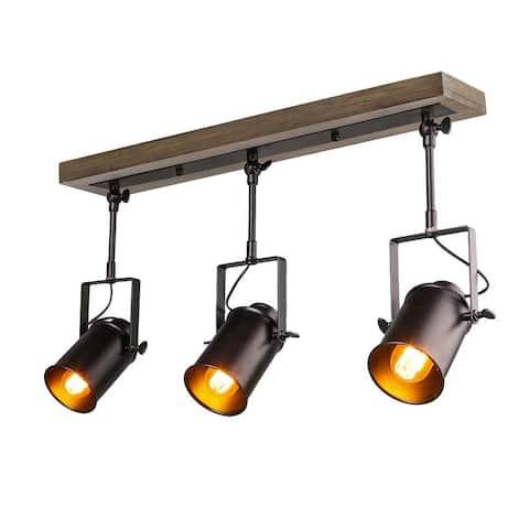 3 light industrial wood metal track ceiling light
