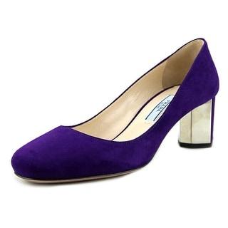 Prada Jessa Women Round Toe Suede Purple Heels