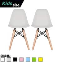 2xhome - set of 2 Grey Plastic Wood Chairs Natural Wood Kids Children.