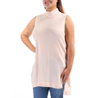 ALFANI $90 Womens New 1142 Pink Sleeveless Turtle Neck Hi-Lo Sweater XL B+B