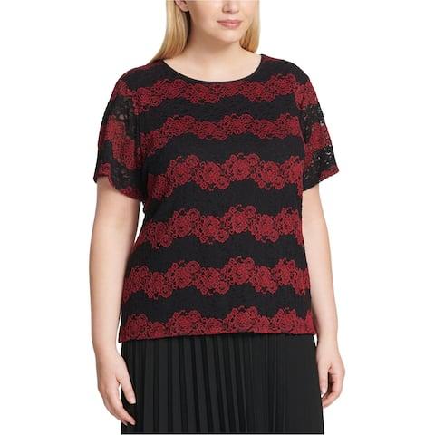 Calvin Klein Womens Floral Lace Pullover Blouse, black, 3X