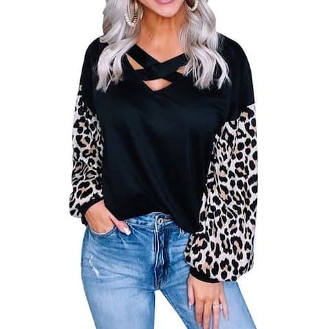 Leopard Print Cross Lace Up Tunic & Sweatshirts
