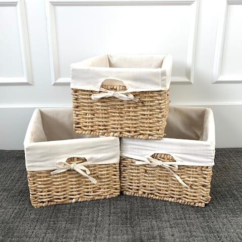 Woven Knock-down Honey Rectangular Storage Baskets (Set of 3)