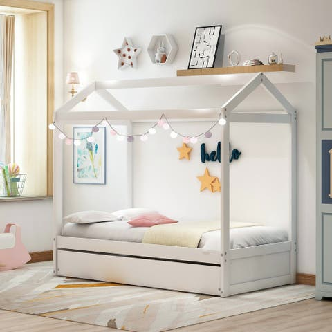 Nestfair White Twin House Bed with Trundle