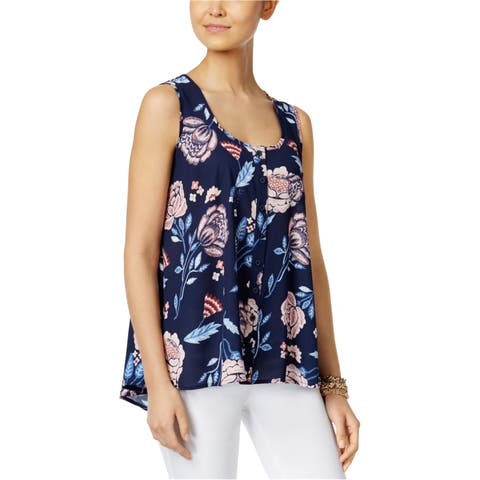 Style&Co. Womens Printed Button Down Blouse