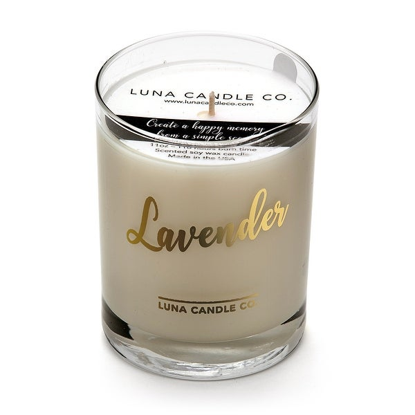 Pure Lavender Scented Glass Candle, Premium Soy Wax, Luna Candle Co.