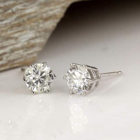 Auriya 1 1/2ctw Round Moissanite Stud Earrings 18k Gold - 5.9 mm