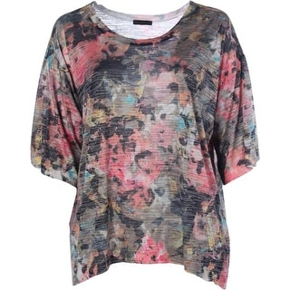 Nally & Millie Womens Plus Short Sleeves Printed Pullover Top