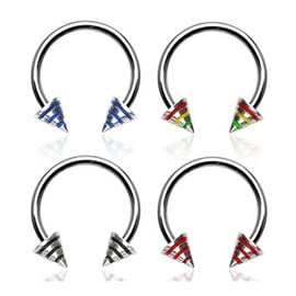 """Surgical Steel Horseshoe with Striped Spikes - 16GA 3/8"""" Long (4x4mm Ball) (Sold Ind.)"""