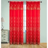 Josephine Embroidery Rod Pocket Panel with Attached Valence and Backing, Red-Gold, 55x90 Inches