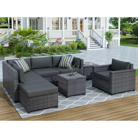 Nestfair 8 Piece Wicker Patio Conversation Set with Cushions