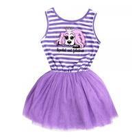 Little Girl Purple Stripe Sleeveless Tulle Tutu Swarovski Elements Crystal Dress