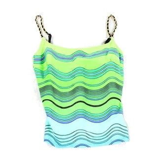 Gottex NEW Green Women's Size 12 Striped Chain Tankini Top Swimwear