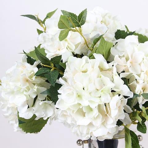 "FloralGoods Silk Hydrangea Stem in White 18"" Tall"