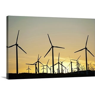 """Wind farm in desert at sunset"" Canvas Wall Art"