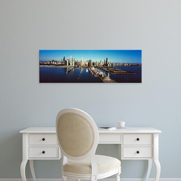 Easy Art Prints Panoramic Image 'Pier on a lake, Navy Pier, Lake Michigan, Chicago, Cook County, Illinois' Canvas Art