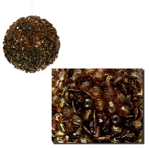 Lavish Chocolate Brown Fully Sequined & Beaded Christmas Ball Ornament 3.5""