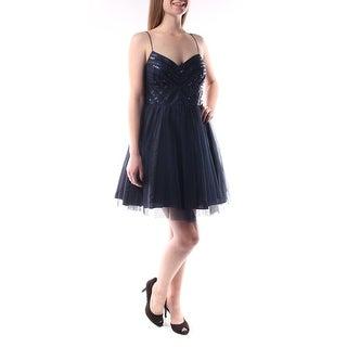 Womens Navy Spaghetti Strap Knee Length A-Line Prom Dress Size: 6