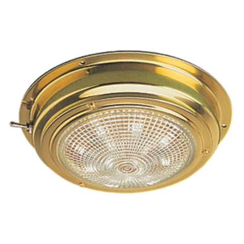 """11"""" Gold and White Sea-Dog Brass LED Dome Light"""