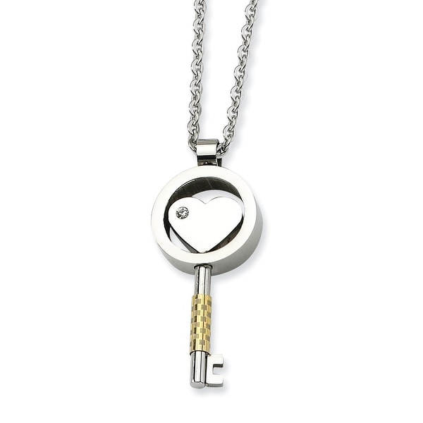 Chisel Stainless Steel Gold Plated & CZ Key 22 Inch Necklace (2 mm) - 22 in