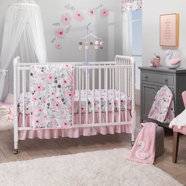 Bedtime Originals Blossom Pink Watercolor Floral 3-Piece Baby Crib Bedding Set. Opens flyout.