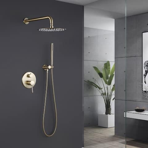 High Pressure Rainfall Shower Faucet and Head Combo Set, Gold