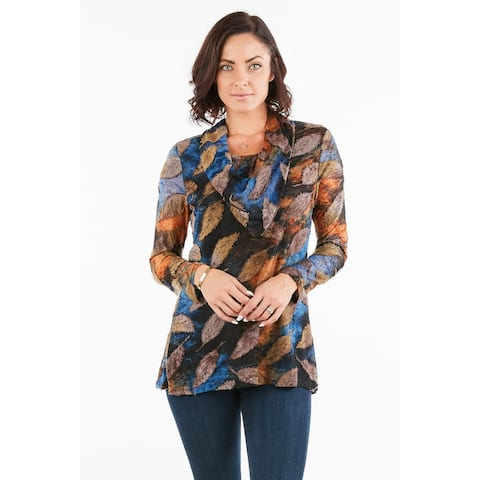 Women's Multicolored Leaf Printed Tunic Top with Cowl Neck
