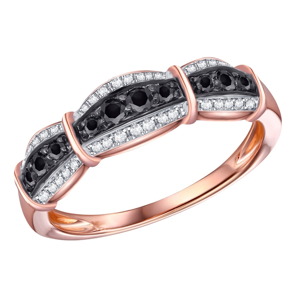 Prism Jewel 1.06 Carat Round Cut Black Diamond 7-Stone Prong Setting Band 10k Gold