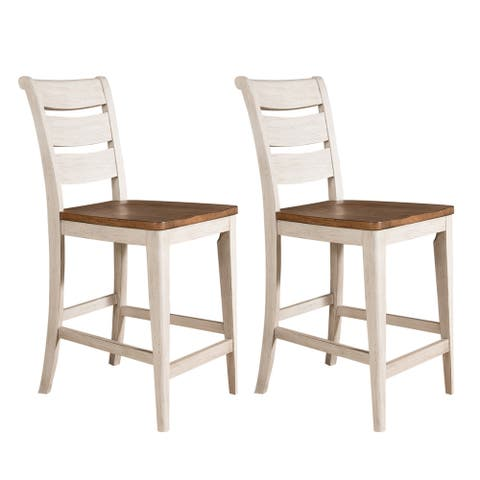 Farmhouse Reimagined Antique White Ladder Back Counter Chair (Set of 2)