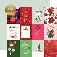 "Merry & Bright Gold Foiled Double-Sided Cardstock 12""X12""-3""X4"" Journaling Cards"