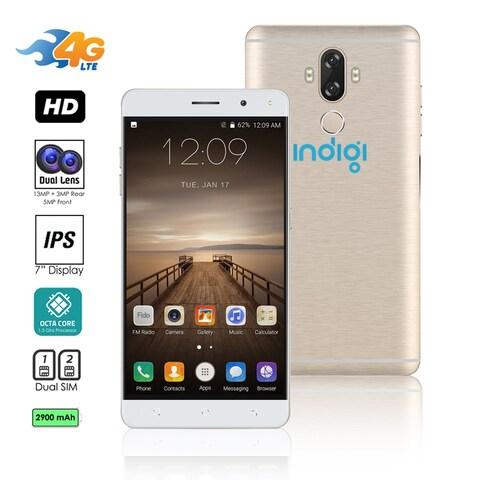 Indigi Unlocked 4G LTE 6-inch Android 7.0 Nougat SmartPhone 8Core @ 1.3GHz (13MP CAM + Fingerprint Scan + 2 SIM Slots) (Gold)