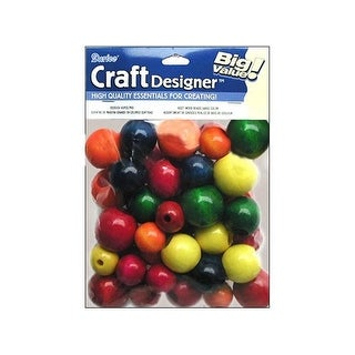 Darice JD Wood Beads Large Astd Color 45pc