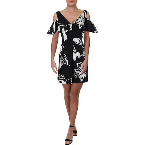 Lauren Ralph Lauren Womens Petites Noelah Villa Party Dress Floral Print Jersey