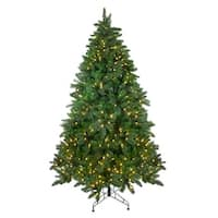 7.5' Pre-Lit Mixed Scotch Pine Artificial Christmas Tree - Warm White LED Lights - Green