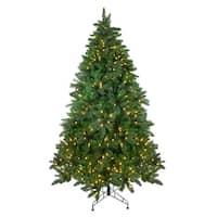 7.5' Pre-Lit Mixed Scotch Pine Artificial Christmas Tree - Warm White LED Lights - green