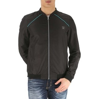Diesel Roger 00SFLD Reversible Windbreaker Jacket Black and Turquoise Small