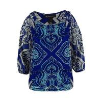 INC International Concepts Women's Could Shoulder Top - inked paisley - ps