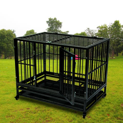 """42"""" Heavy Duty Dog Cage Crate Kennel Metal Pet Playpen Portable with Tray"""