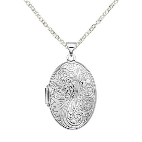 Sterling Silver Scroll Oval Locket with 18-inch Cable Chain by Versil