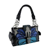 Tribal Butterfly Floral Cross Rhinestone Buckle Concealed Carry Handbag