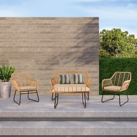 Leefside 4-Piece Outdoor Wicker Patio Conversation Set with Cushions