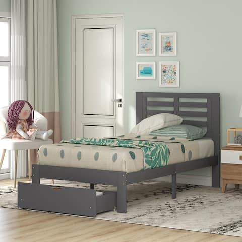 Twin Size Platform Bed with Drawer, Gray,MDF and Pine Wood
