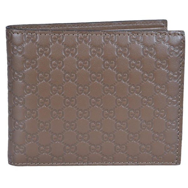 "Gucci Men's 260987 Cocoa Brown Leather MICRO GG Guccissima Bifold Wallet - 4.5"" x 3.5"""