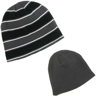 CTM® Men's Waffle Knit Beanie Winter Skull Cap (Pack of 2) - One Size