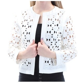 Womens White 3/4 Sleeve Open Wear To Work Top Size 2