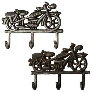 "Set of 4 Assorted Metallic Retro Motorcycle Decorative Multi-Hook 10"""