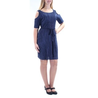 CONNECTED $69 New 1185 Navy Scoop Neck Short Sleeve Sheath Dress Petites 10 B+B