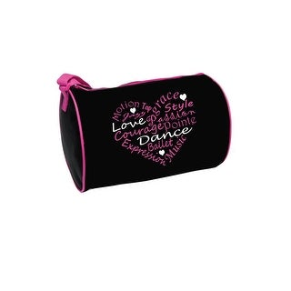 "Danshuz Girls Black Pink Trim Dance Words Heart Roll Duffel 12""x 8.5"" - One size"